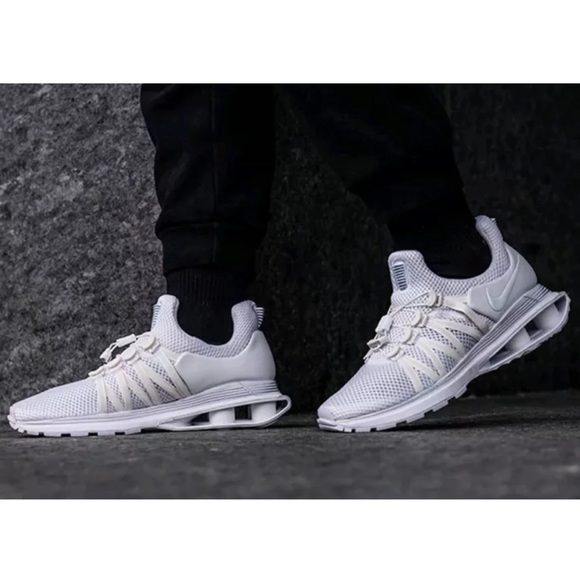 fa8ee168724 Nike Men Shox Gravity Triple White Running Shoes